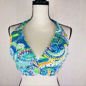 Lauren Ralph Lauren Halter Bikini Top 18W Blue